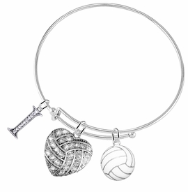 "<BR>           WHOLESALE SPORTS FASHION JEWELRY     <BR>                  COMPLETELY HYPOALLERGENIC     <BR>         W22050B9 - CRYSTAL AND SILVER TONE      <BR>  ""I"", HEART-SHAPED ""VOLLEYBALL"" CHARM WITH     <BR>   3D SILVER TONE AND WHITE VOLLEYBALL BALL  <BR>        ON ADJUSTABLE SILVER TONE THIN WIRE   <BR>       BRACELET FROM $10.75 TO $16.25 �2015"