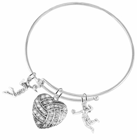 "<BR>           WHOLESALE SPORTS FASHION JEWELRY     <BR>                  COMPLETELY HYPOALLERGENIC     <BR>         W22052B9 - CRYSTAL AND SILVER TONE      <BR>  ""HEART-SHAPED ""VOLLEYBALL"" CHARM WITH TWO   <BR>  SILVER TONE LADY VOLLEYBALL PLAYER CHARMS <BR>        ON ADJUSTABLE SILVER TONE THIN WIRE    <BR>       BRACELET FROM $10.75 TO $16.25 �2015"