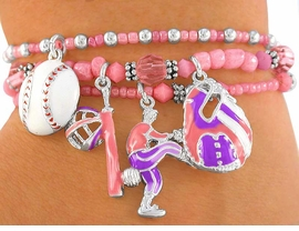 "<BR>          W2254B - EXCLUSIVELY OURS,<br>  FABULOUS ""LITTLE GIRLS' BASEBALL""<br>LEAD & NICKEL FREE STRETCH BRACELET<BR>             FOR 4 YEAR OLDS OR OLDER<BR>                         AS LOW AS $1.90"