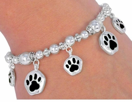 W2464B - BLACK  SCHOOL<BR>    SPIRIT  PAWS BRACELET<BR>        FROM $5.63TO $12.50