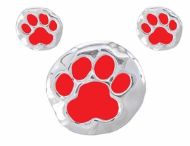 "W2467PE -  BRIGHT RED ""SCHOOL<BR>      SPIRIT"" PAWS PENDANT/PIN<BR>  & EARRING SET AS LOW AS $2.90 <BR>          NOW ON SALE FOR $ .88"