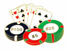 W2588P-NEW! POKER CHIPS AND<BR>    CARDS PIN AS LOW AS $4.00