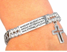 W2649B - (JOHN 3:16) STRETCH<BR>               CHARM BRACELET<Br>      YOUR LOW PRICE IS $3.60