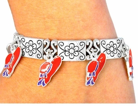 W2653B-RED HAT STRETCH<BR> BRACELET WITH MAGNETIC<BR> CLOSURE AS LOW AS $2.30