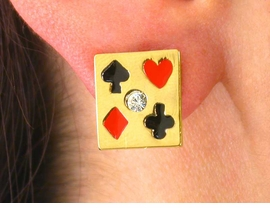 W2768E-LOVELY NEW! GAMBLING<BR>             GOLD FINISH PIERCED<BR>       EARRINGS AS LOW AS $4.85