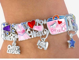 "<BR>  W2880B-""CHEER POWER"" STRETCH<BR>     LEAD, CADMIUM, & NICKLE FREE<BR>    CHEERLEADER CHARM BRACELET<BR>        FROM $8.85 TO 19.25 �2016"