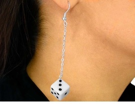 W2891E-NEW WHITE DICE PIERCED<BR>       EARRING AS LOW AS $1.45