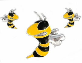 <bR>        W2921PE - YELLOW AND BLACK<BR>BUMBLEBEE/HORNET/YELLOW JACKET<BR>               PIN / PENDANT & SLIDER<BR>EARRING SET AS LOW AS $7.95 To $15.00