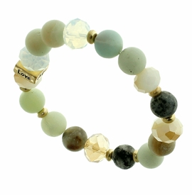 "<BR>      W29471B12 - EXCITING NEW FASHION JEWELRY EXCLUSIVE <BR>       JADE, GLASS AND EARTH-TONE BEADED STRETCH BRACELET <BR>    ""FAITH"" ""HOPE"" ""LOVE"" ""BLESSED"" ON GOLD-TONED ACCENT <BR>                     NO NICKEL, LEAD, OR POISONOUS CADMIUM.  <br>                              BUY THIS BRACELET FOR $11.25 EACH"