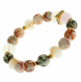 "<BR>      W29472B12 - EXCITING NEW FASHION JEWELRY EXCLUSIVE <BR> RED MARBLE, GLASS AND EARTH-TONE BEADED STRETCH BRACELET <BR>    ""FAITH"" ""HOPE"" ""LOVE"" ""BLESSED"" ON GOLD-TONED ACCENT <BR>                     NO NICKEL, LEAD, OR POISONOUS CADMIUM.  <br>                              BUY THIS BRACELET FOR $11.25 EACH"