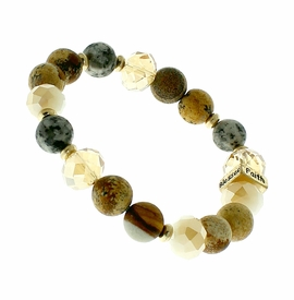 "<BR>      W29473B12 - EXCITING NEW FASHION JEWELRY EXCLUSIVE <BR>      BROWN, GLASS AND EARTH-TONE BEADED STRETCH BRACELET <BR>    ""FAITH"" ""HOPE"" ""LOVE"" ""BLESSED"" ON GOLD-TONED ACCENT <BR>                     NO NICKEL, LEAD, OR POISONOUS CADMIUM.  <br>                              BUY THIS BRACELET FOR $11.25 EACH"