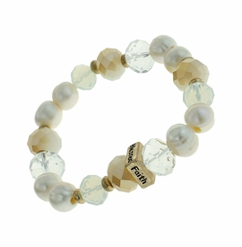 "<BR>      W29475B12 - EXCITING NEW FASHION JEWELRY EXCLUSIVE <BR>      PEARL, GLASS AND EARTH-TONE BEADED STRETCH BRACELET <BR>    ""FAITH"" ""HOPE"" ""LOVE"" ""BLESSED"" ON GOLD-TONED ACCENT <BR>                     NO NICKEL, LEAD, OR POISONOUS CADMIUM.  <br>                              BUY THIS BRACELET FOR $11.25 EACH"