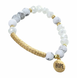 "<BR>     W29483B12 - EXCITING NEW FASHION JEWELRY EXCLUSIVE <BR>WHITE, GLASS AND WHITE MARBLE MINI BEADED STRETCH BRACELET <BR>    ""HOPE"" ON TEXTURED GOLD-TONED ROUND ACCENT <BR>                     NO NICKEL, LEAD, OR POISONOUS CADMIUM.  <br>                              BUY THIS BRACELET FOR $11.25 EACH"
