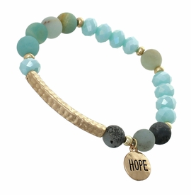 "<BR>     W29484B12 - EXCITING NEW FASHION JEWELRY EXCLUSIVE <BR>  SKY BLUE, GLASS AND EARTH-TONE MINI BEADED STRETCH BRACELET <BR>    ""HOPE"" ON TEXTURED GOLD-TONED ROUND ACCENT <BR>                     NO NICKEL, LEAD, OR POISONOUS CADMIUM.  <br>                              BUY THIS BRACELET FOR $11.25 EACH"