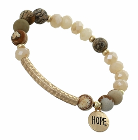 "<BR>     W29485B12- EXCITING NEW FASHION JEWELRY EXCLUSIVE <BR>EARTH-TONE, GLASS AND MARBLE MINI BEADED STRETCH BRACELET <BR>    ""HOPE"" ON TEXTURED GOLD-TONED ROUND ACCENT <BR>                     NO NICKEL, LEAD, OR POISONOUS CADMIUM.  <br>                              BUY THIS BRACELET FOR $11.25 EACH"