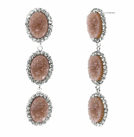 <BR>        W29486E - BEAUTIFUL NEW FASHION JEWELRY EXCLUSIVE <BR>  DUSTY ROSE NATURAL GEODE STONE AND CLEAR CRYSTAL ACCENTED<BR>    THREE TIERED SILVER TONE POST SETTING FASHION EARRINGS<BR>                     NO NICKEL, LEAD, OR POISONOUS CADMIUM.  <br>                            BUY THESE EARRINGS FOR $10.00 EACH