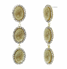 <BR>        W29489E - BEAUTIFUL NEW FASHION JEWELRY EXCLUSIVE <BR>  DUSKY AMBER NATURAL GEODE STONE AND CLEAR CRYSTAL ACCENTED<BR>    THREE TIERED GOLD TONE POST SETTING FASHION EARRINGS<BR>                     NO NICKEL, LEAD, OR POISONOUS CADMIUM.  <br>                            BUY THESE EARRINGS FOR $10.00 EACH