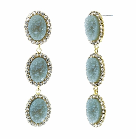 <BR>        W29492E - BEAUTIFUL NEW FASHION JEWELRY EXCLUSIVE <BR>  SLATE BLUE NATURAL GEODE STONE AND CLEAR CRYSTAL ACCENTED<BR>    THREE TIERED GOLD TONE POST SETTING FASHION EARRINGS<BR>                     NO NICKEL, LEAD, OR POISONOUS CADMIUM.  <br>                            BUY THESE EARRINGS FOR $10.00 EACH
