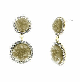 <BR>        W29496E - BEAUTIFUL NEW FASHION JEWELRY EXCLUSIVE <BR>  DUSKY AMBER NATURAL GEODE STONE AND CLEAR CRYSTAL ACCENTED<BR>    TWO TIERED GOLD TONE POST SETTING FASHION EARRINGS<BR>                     NO NICKEL, LEAD, OR POISONOUS CADMIUM.  <br>                            BUY THESE EARRINGS FOR $7.50 EACH