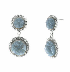 <BR>        W29499E - BEAUTIFUL NEW FASHION JEWELRY EXCLUSIVE <BR>  SLATE BLUE NATURAL GEODE STONE AND CLEAR CRYSTAL ACCENTED<BR>    TWO TIERED SILVER TONE POST SETTING FASHION EARRINGS<BR>                     NO NICKEL, LEAD, OR POISONOUS CADMIUM.  <br>                            BUY THESE EARRINGS FOR $7.50 EACH
