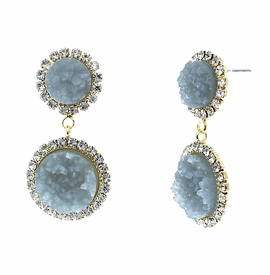 <BR>        W29500E - BEAUTIFUL NEW FASHION JEWELRY EXCLUSIVE <BR>  SLATE BLUE NATURAL GEODE STONE AND CLEAR CRYSTAL ACCENTED<BR>    TWO TIERED GOLD TONE POST SETTING FASHION EARRINGS<BR>                     NO NICKEL, LEAD, OR POISONOUS CADMIUM.  <br>                            BUY THESE EARRINGS FOR $7.50 EACH