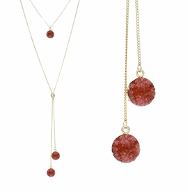 <BR>     W29501N12 - EXCITING NEW FASHION JEWELRY EXCLUSIVE <BR>  BLUSH RED NATURAL GEODE CRYSTAL GOLD-TONE NECKLACE <BR>    ADJUSTABLE GOLD-TONE BEAD FOR DANGLING GEODE PENDANTS<BR>                     NO NICKEL, LEAD, OR POISONOUS CADMIUM.  <br>                              BUY THIS NECKLACE FOR $11.25 EACH