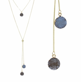 <BR>     W29502N12 - EXCITING NEW FASHION JEWELRY EXCLUSIVE <BR>  SLATE BLUE NATURAL GEODE CRYSTAL GOLD-TONE NECKLACE <BR>    ADJUSTABLE GOLD-TONE BEAD FOR DANGLING GEODE PENDANTS<BR>                     NO NICKEL, LEAD, OR POISONOUS CADMIUM.  <br>                              BUY THIS NECKLACE FOR $11.25 EACH
