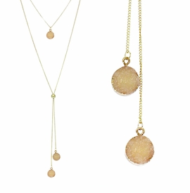 <BR>     W29503N12 - EXCITING NEW FASHION JEWELRY EXCLUSIVE <BR>  DUSKY AMBER NATURAL GEODE CRYSTAL GOLD-TONE NECKLACE <BR>    ADJUSTABLE GOLD-TONE BEAD FOR DANGLING GEODE PENDANTS<BR>                     NO NICKEL, LEAD, OR POISONOUS CADMIUM.  <br>                              BUY THIS NECKLACE FOR $11.25 EACH