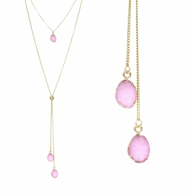 <BR>     W29507N12 - EXCITING NEW FASHION JEWELRY EXCLUSIVE <BR>  BLUSH PINK NATURAL GEODE CRYSTAL GOLD-TONE NECKLACE <BR>    ADJUSTABLE GOLD-TONE BEAD FOR DANGLING GEODE PENDANTS<BR>                     NO NICKEL, LEAD, OR POISONOUS CADMIUM.  <br>                              BUY THIS NECKLACE FOR $11.25 EACH