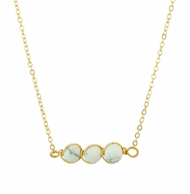 <BR>     W29516N12 - EXCITING NEW FASHION JEWELRY EXCLUSIVE <BR>      GOLD TONE CHAIN NECKLACE WITH THREE ROUND WHITE <BR>       AND GRAY MARBLE TONED STONES IN WIRE PENDANT<BR>                     NO NICKEL, LEAD, OR POISONOUS CADMIUM.  <br>                              BUY THIS NECKLACE FOR $10.50 EACH