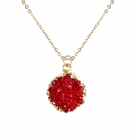 <BR>     W29521N12 - EXCITING NEW FASHION JEWELRY EXCLUSIVE <BR>BRIGHT RED TONE NATURAL GEODE CRYSTAL GOLD-TONE PENDANT <BR>    ON BEAUTIFUL ADJUSTABLE GOLD-TONE CHAIN LINK NECKLACE<BR>                     NO NICKEL, LEAD, OR POISONOUS CADMIUM.  <br>                              BUY THIS NECKLACE FOR $10.00 EACH