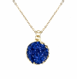 <BR>     W29522N12 - EXCITING NEW FASHION JEWELRY EXCLUSIVE <BR>  ROYAL BLUE TONED NATURAL GEODE CRYSTAL GOLD-TONE PENDANT <BR>    ON BEAUTIFUL ADJUSTABLE GOLD-TONE CHAIN LINK NECKLACE<BR>                     NO NICKEL, LEAD, OR POISONOUS CADMIUM.  <br>                              BUY THIS NECKLACE FOR $10.00 EACH