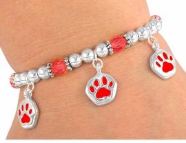 W3072B-NEW! CHILDRENS RED<BR>       STRETCH PAW BRACELET<BR>              AS LOW AS $3.90