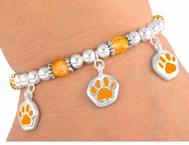 W3074B - CHILDRENS ORANGE<BR>      STRETCH PAW BRACELET<BR>        FROM $4.50 TO $10.00