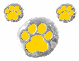 "<bR> W3122PE - YELLOW ""SCHOOL<BR>SPIRIT"" PAWS PENDANT/PIN &<BR> EARRING SET AS LOW AS $2.90<BR>          NOW ON SALE FOR $ .88"