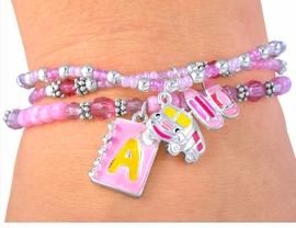 "<BR>      W3645BA - GREAT""LEAD FREE""<br>TRIPLE STRAND ""SCHOOL TIME FUN""<BR>      CHILDREN'S CHARM BRACELET<BR> ASSORTMENT FROM $2.25 TO $5.00"