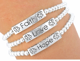 "W3803B - THE ""ORIGINAL"" 3-IN-1<br>    ""FAITH, HOPE, LOVE"" STRETCH<br>                     BRACELET SET<br>        YOUR LOW PRICE IS $3.35"