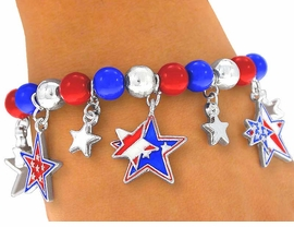 "<br>    W3966B - ""AMERICAN STARS!""<BR>      RED, SILVER, & BLUE STRETCH<BR>            CHARM BRACELET FROM<bR>                      $3.94 TO $8.75"