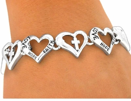 "<BR>      W3986B - ""LOVE, HOPE, FAITH""<BR>            OPEN HEARTS & CROSSES<BR>          MAGNETIC CLASP BRACELET<BR>              YOUR LOW PRICE IS $7.31"