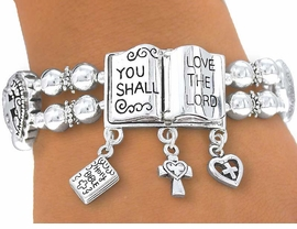 """W4037B - """"YOU SHALL LOVE THE LORD""""<BR>               STRETCH BRACELET FROM<Br>                          $4.50 TO $10.00"""