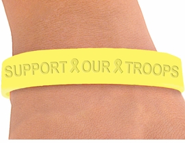 "<BR>  W4331JB - ""SUPPORT OUR TROOPS"" <BR>YELLOW JELLY BAND BRACELET©2004<BR>    IN QUANTITY FROM $.29 TO $5.00<BR>WE ARE THE ONLY MANUFACTURER OF<BR>                          THIS BRACELET"