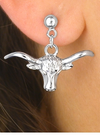 W4345E-NEW! SILVER FINISH<BR>       LONGHORN EARRINGS<br>             AS LOW AS $3.15