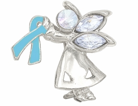 "<br>W4434P - CHARMING ""ANGEL BY MY SIDE""<BR>     SILVER TONE TEAL AWARENESS ANGEL<Br>               PIN ©2005   $.93 EACH PIN<bR>                     EXCLUSIVELY OURS!<BR>        MINIMUM QUANTITY 10 PINS  �2004"
