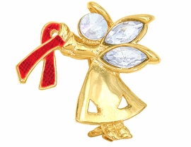 "<br>W4439P - CHARMING ""ANGEL BY MY SIDE""<BR>        GOLD TONE RED AWARENESS ANGEL<BR>             PIN©2005 FROM $2.81 TO $7.50<BR>     EXCLUSIVELY OURS! WE ARE THE ONLY<br>               MANUFACTURER OF THIS PIN!"