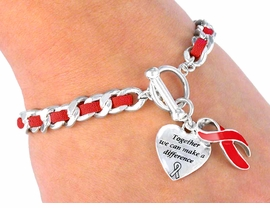 W4582B - SUEDE LEATHER LINK<BR>       RED AWARENESS TOGGLE<BR>         BRACELET©2005 FROM<Br>                   $2.25 TO $5.00