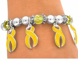 <br>W4609B - YELLOW AWARENESS<bR>       RIBBON CHARM STRETCH<BR>         BRACELET©2005 FROM<Br>                  $2.81 TO $6.25