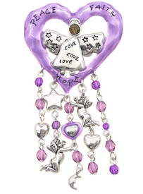 "W4612P - NEW! ""PEACE, FAITH, HOPE""<BR> PURPLE HEART WITH CRYSTAL ANGEL<bR>   PIN/PENDANT FROM $3.35 TO $7.50"