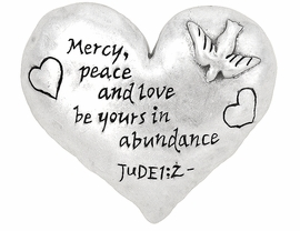 "<br>         W4614P - INSPIRATIONAL JUDE1:2<bR>     ""MERCY, PEACE AND LOVE..."" SILVER<BR> HEART PIN/PENDANT FROM $2.70 TO $5.00"