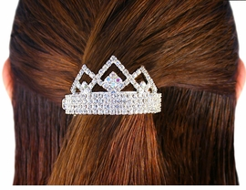 W4631HJ - BRILLIANT SWAROVSKI<BR>     CRYSTAL & AURORA BOREALIS<BR>  TRIANGLE CROWN CLIP PONYTAIL<bR>     HOLDER FROM $7.65 TO $17.00