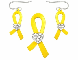 <BR> W4995PE - YELLOW AWARENESS<BR>RIBBON PENDANT/PIN & EARRING<BR>               SET AS LOW AS $3.90
